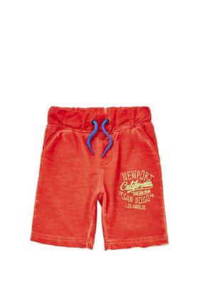 Minoti Slogan Washed Jersey Shorts 3-4 years Orange