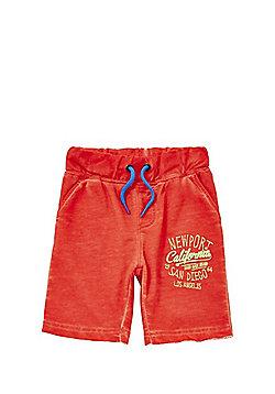 Minoti Slogan Washed Jersey Shorts - Orange