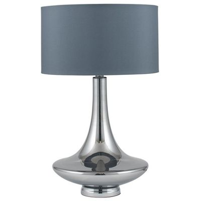 Grey Curved Glass Table Lamp Complete