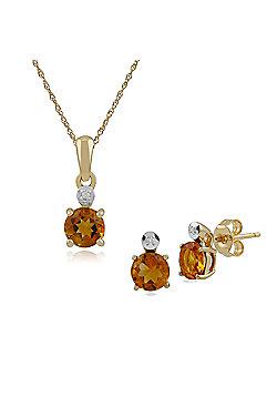 Gemondo 9ct Yellow Gold Citrine & Diamond Round Stud Earring & 45cm Necklace Set