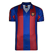 Score Draw FC Barcelona 1992 Mens Home Football Shirt Red/ Blue - Red