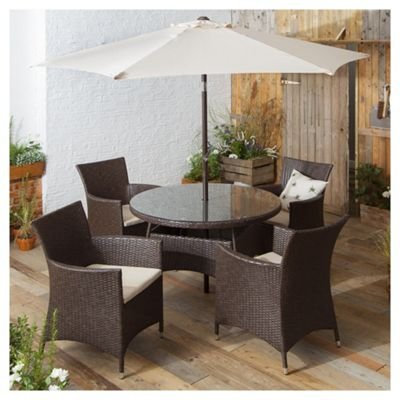 rattan garden dining set brown 6 piece