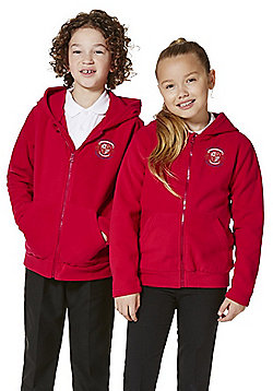 Unisex Embroidered School Zip-Through Fleece with Hood - Red