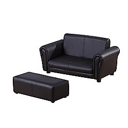 Homcom 2 Seater Sofa Childrens Double Seat Couch w/ Footstool (Black)