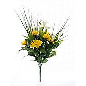 Artificial - Freesia & Gerbera Mixed Bush - Cream / Yellow