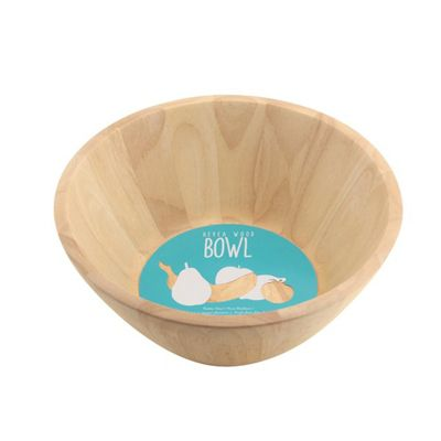 Apollo Rubberwood Salad/Fruit Bowl, Natural Hevea Wood, Eco-Friendly, (Beige)
