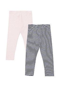 F&F 2 Pack of Plain and Striped Leggings - Multi