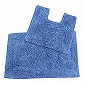 Homescapes Luxury Two Piece Bath Mat Set Cobalt Blue