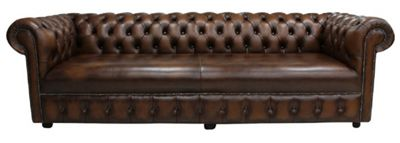 Chesterfield 1780's 4 Seater Settee Antique Brown Leather Sofa
