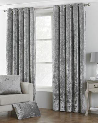 Riva Home Crushed Velvet Silver Verona Eyelet Curtains - 66x72 Inches (168x183cm)