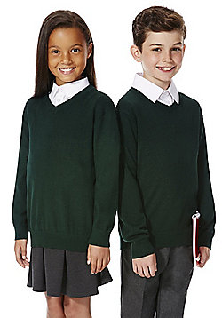 F&F School Unisex V-Neck Jumper with As New Technology - Green