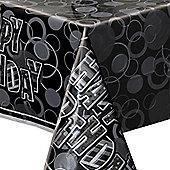 Happy Birthday Black Plastic Tablecover - 137cm x 213cm