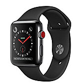 Apple Watch Series 3 (42mm) Space Black Stainless Steel Watch Case 16GB GPS + Cellular with Black Sport Band