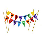 Amazing Buntings - Happy Birthday - Large Multi-coloured Flags Decorative Cake Topper