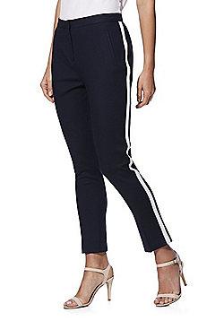 F&F Side Stripe Slim Fit Trousers - Navy
