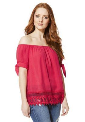 Vero Moda Short Sleeve Bardot Top XS Pink
