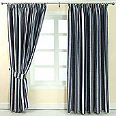 """Homescapes Blue Jacquard Curtain Modern Striped Design Fully Lined - 66"""" X 90"""" Drop"""