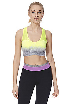 F&F Active Ombré Low Impact Sports Crop Top - Yellow & Grey