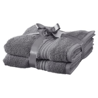 TESCO HYGRO COTTON 2 PACK HAND TOWELS GREY