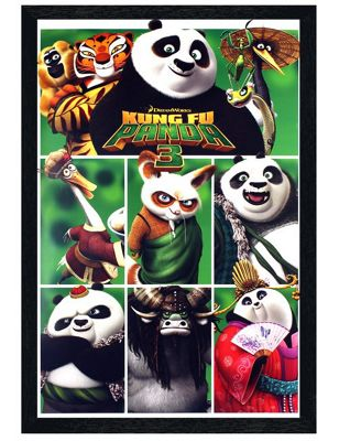Black Wooden Framed Kung Fu Panda 3 Characters Poster 61x91.5cm