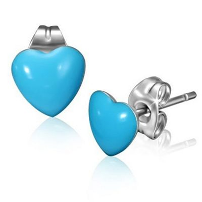 Urban Male Stainless Steel and Blue Resin Heart Stud Earrings