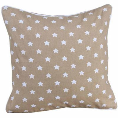 Homescapes Cotton Beige Stars Cushion Cover, 45 x 45 cm