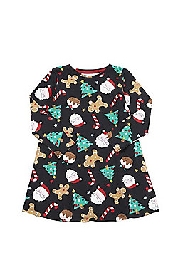 F&F Christmas Novelty Print Swing Dress - Black & Multi