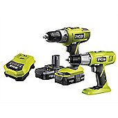 Ryobi One+ Twin Pack With 17 Piece Set 18 Volt 2 x 1.3 Ah Li-Ion