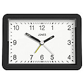 Jones Black Square Alarm Clock, Large