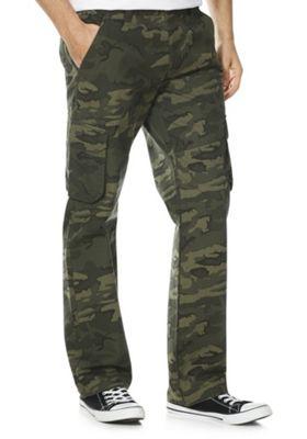 F&F Camouflage Print Cargo Trousers Green 36 Waist 30 Leg