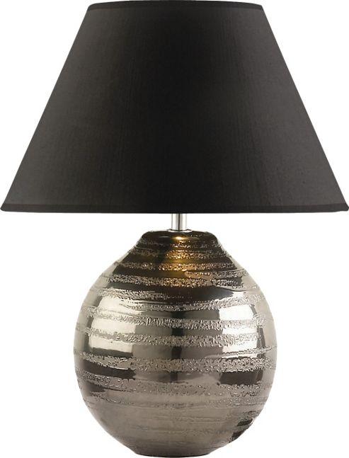The Lighting & Interiors Group Cosmo Table Lamp - Pewter - Black Taffeta