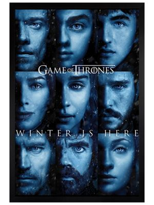 Game of Thrones Black Wooden Framed Winter Is Here Poster 61 x 91.5cm