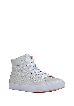 F&F Iridescent Quilted High Top Trainers - Silver