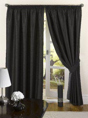 Faux Silk Eyelet Curtains, Black 168x229cm
