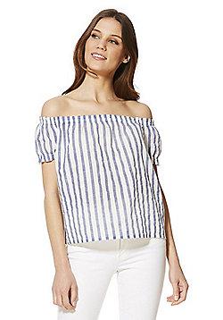 Vero Moda Striped Bardot Top with Linen - Blue & White