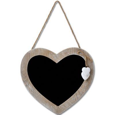 Heart - Driftwood Effect Hanging Chalkboard / Blackboard - Brown / White