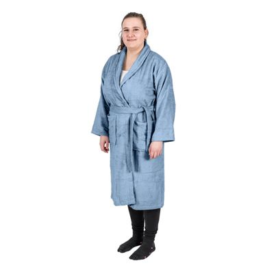 Homescapes Blue 100% Egyptian Combed Cotton Adults Bathrobe with Shawl Collar, XXL