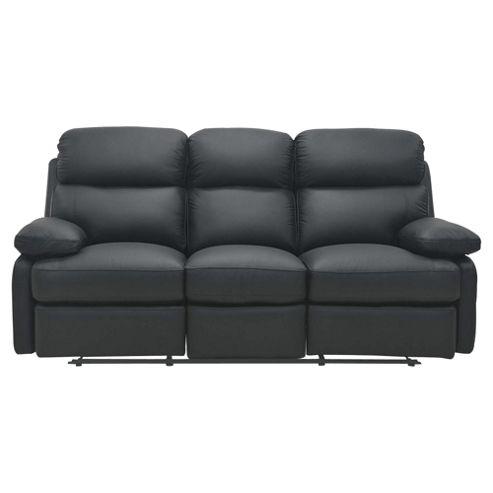 Cordova Leather Large Recliner Sofa Black