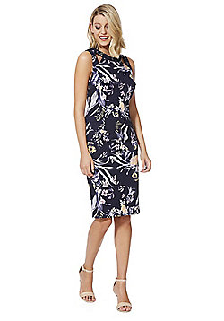 F&F Floral Print Cut-Out Detail Pencil Dress - Navy