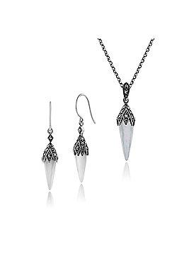 Gemondo 925 Sterling Silver Mother of Pearl & Marcasite Art Deco Drop Earrings & 45cm Necklace Set