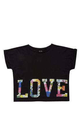 F&F Love Slogan Top Black 5-6 years