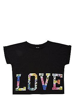 F&F Love Slogan Top - Black