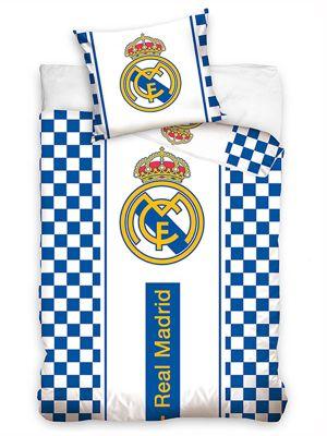 Real Madrid CF White Checked Single Cotton Duvet Cover Set