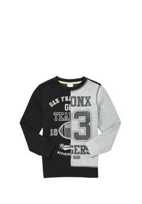 F&F Splice Graphic Sweatshirt Black/Grey 11-12 years