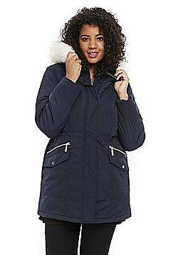 Evans Faux Fur Hood Plus Size Parka - Navy