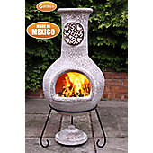 Extra large Mexican Chimenea Cruz in brushed sandstone