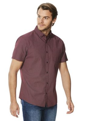 F&F Tile Print Button-Down Collar Short Sleeve Shirt Burgundy M
