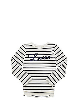 F&F Slogan Striped Sweatshirt - Navy
