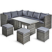 VonHaus 9 Seater Dining Corner Rattan Set - Rattan Garden Furniture