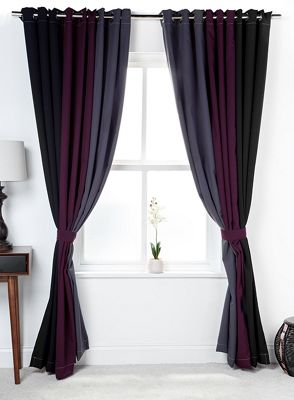 3 Tone Coloured Curtains with Tiebacks Black/Berry/Grey 66